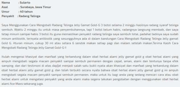 Obat Herbal Radang Telinga Jelly Gamat Gold-G